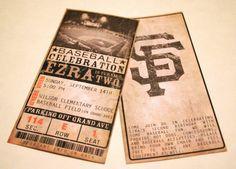 Custom Vintage Baseball Ticket Invitations - ANY TEAM - Any Occasion