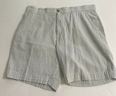 Lacoste Mens Seersucker Shorts Sz US 36 FR 46 Gray Blue White Stripe Flat Front | eBay Grey And White, Blue Grey, Gray, Striped Flats, Seersucker Shorts, Lacoste Men, Patterned Shorts, Preppy, Casual Shorts