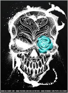 Skull with sapphire rose eye Diy Poster, Desenhos Halloween, Totenkopf Tattoos, Skull Pictures, Candy Skulls, Sugar Skulls, Day Of The Dead Skull, Day Of The Dead Artwork, Sugar Skull Tattoos