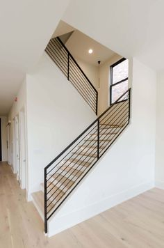 Supplied by Jefferson Door Windows Doors shutters moulding columns hardware Modern Staircase columns Door doors hardware Jefferson moulding shutters Supplied Windows Staircase Railing Design, Modern Stair Railing, Modern Stairs, Building Stairs, Staircase Remodel, House Stairs, Stairs Window, Windows And Doors, New Homes