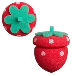 Strawberry Sponge Hair Rollers Sponge Hair Rollers, Baby Shoes, Strawberry, Handbags, Christmas Ornaments, Holiday Decor, How To Make, Kids, Crafts