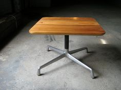 Yellow Pine side table with Eames base $249 - Chicago http://furnishly.com/yellow-pine-side-table-with-eames-base.html