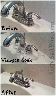 Get rid of hard water stains around your sink faucet by letting it sit with a vinegar-soaked paper towel.