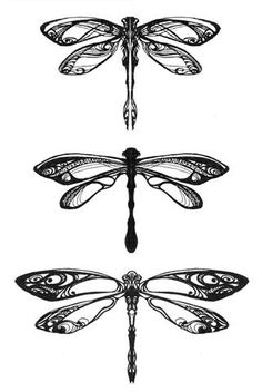 Detailed and pretty dragonflies! These would be beautiful with iridescent colors or in embroidery.