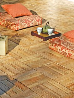 bamboo deck tiles Basement Flooring, Bamboo, Deck Tiles, Tiles, Home Addition, Building A Deck, Coffee Table, Decks And Porches, Sweet Life On Deck