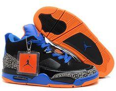 f13215ab1336d4 Air Jordan Retro 3 Black Blue Orange Leopard Cheap Jordan Shoes