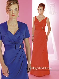 Style F14-M1411. A-line satin bridesmaid dress with V-neck and V-back, pleated bodice and waist, bow on left waist with silver brooch, zipper back, and bolero. Shown in Bright Red and Royal. Available in all Satin colors. Sizes: 2-30