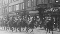 Romanian Cavalry patrolling the streets of Budapest after the capitulation of the Hungarian Soviet Republic, 1919 Second World, First World, World War I, Old World, Horse Facts, Pearl Harbor Attack, Austro Hungarian, Thing 1, Liberia