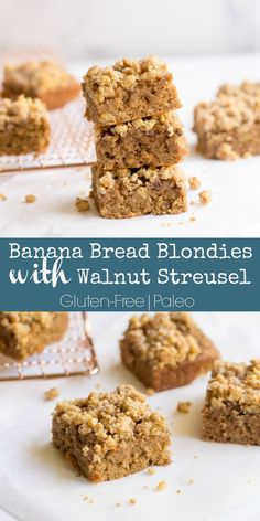 We're upping our baking game by taking a delicious blondie recipe, and combining it with the yummy taste of banana bread! Paleo Baking, Baking Recipes, Cookie Recipes, Paleo Recipes, Free Recipes, Paleo Meals, Paleo Food, Vegetarian Food, Paleo Diet