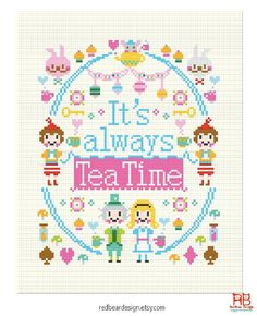 Alice in Wonderland Quote Cross stitch pattern by redbeardesign
