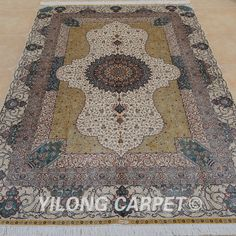 Yilong 6'x9' Persian Silk Rugs Hand Knotted Qum Carpets Handmade Store Sale 0744