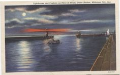 Lighthouse Foghorn at Night Outer Harbor Michigan City Indiana Postcard 753