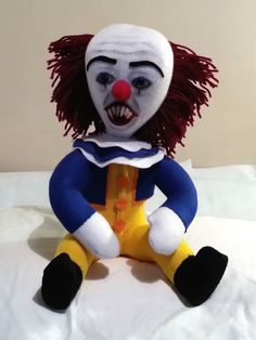 Handmade Pennywise Doll  Ships from London by MoodyVoodies on Etsy #pennywise #stephenking #doll #creepydoll #plushdoll #horror