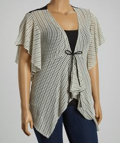 Look what I found on #zulily! White & Black Cape-Sleeve Cardigan - Plus by Panitti #zulilyfinds