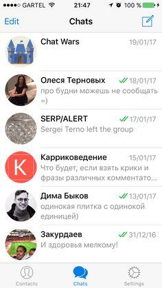 Chats list. #app #list #divider #avatar Telegram App, Avatar, Ios, Divider, Dinner Suit, Cat Breeds, Room Screen