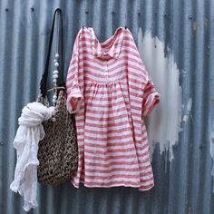 Red striped Linen Dress por MegbyDesign en Etsy