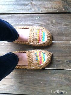 #T69 Foto-Tutorial: Mocasines tejidos a Crochet ~ CTejidas [Crochet y Dos Agujas]