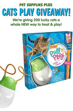 It's our Cats Play Giveaway! 200 lucky winners will take home a Friskies Pull 'n Play Cat Treats Play Pack, Wobbert! Cats love Wobbert, the Friskies treat-dispensing cat toy, because he wobbles, comes with tender edible strings, and is filled with treats! Visit our Facebook Cats Play Giveaway app and enter before 11:59pm on June 30th to be eligible.