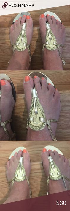 Gold Dolce Vita  sandals Worn twice and hurt. Should have a half size larger. Otherwise these are beautiful sandals. I bought for a cruise but afraid to wear them- but maybe my loss will be your gain- especially if you are size 8. Really love the style and quality workmanship. Dolce Vita Shoes Sandals