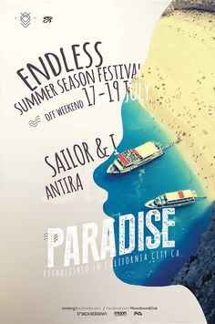 Paradise Summer Poster – This flyer poster can be used for the summer season events such as a beach party, summer bar party, summer party or a fashion workshop, garden, outlet, karaoke, dj events and more. This summer poster combines a sexy silhouette wit…
