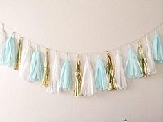 Blue, White and Gold Tassel Garland Ready-assembled and Ready to Hang At Your Party, Wedding, Photoshoot or As Room Decor. 15 tassels in Cute Colors Will Complement Any Decorations and Create a Sense of Occaision. High Quality Paper on a String -This Garland Is the Perfect Party or Baby Room Accessory. Pair with Our Pom Poms for a Complete Look!