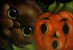 BLACK CAT - HALLOWEEN PUMPKIN FACE 2 Cyra R. Cancel - Pesquisa Google