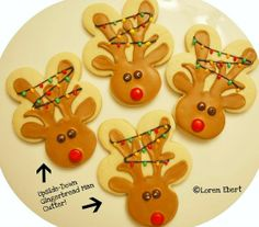 Use an upside-down gingerbread man cookie cutter to make Reindeer cookies!