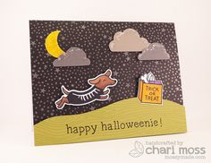 Lawn Fawn - Critters at the Dog Park + coordinating dies, Critters in Costume + coordinating dies, Smitty's ABCs, Woodgrain Backdrops, Lawn Cuts-Blue Skies _ Chari's inspired Halloweenie card! | Flickr - Photo Sharing!
