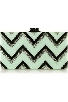 Edie Parker | Jean Chevron glittered acrylic box clutch