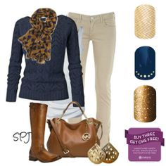 KT Khaki tan skinny jeans, leopard scarf, navy blue sweater, ginger boots