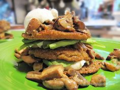 Amaranth Cakes with Wild Mushrooms, Spinach & Creamy Goat Cheese from jemangelaville.com