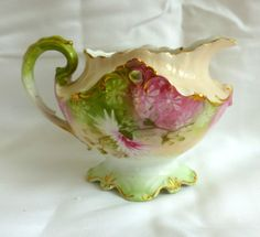 "RS Prussia Creamer Pink Asters w/ Green and Gold Trim 4"" Excellent Condition!"