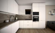 Galéria   Malé Krasňany Modern Apartment Decor, Apartment Design, Kitchen Room Design, Kitchen Sets, Dom, New Homes, Kitchen Cabinets, House Design, Interior Design