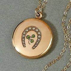 "ANTIQUE Victorian Seed Pearl LOCKET Horseshoe Shamrock Peridot Green Paste Gold Insert Frame 24"" Long Chain c.1890s #VictorianLLocket #VictorianSeedPearls"
