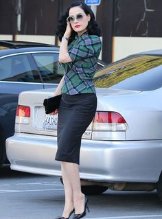 Dita Von Teese. A perfect office appropriate outfit but still very pin up.