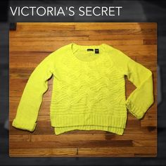 Victoria's Secret Neon Yellow-Green Boxy Sweater Victoria's Secret Neon Yellow-Green Boxy Open-Knit Cable Sweater is in a Very Roomy Size Medium It is NEW VS Moda International Sweaters Crew & Scoop Necks