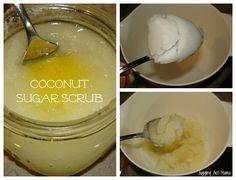 Coconut Sugar Scrub with Printable Labels  Coconut Sugar Scrub  Materials:  Organic Coconut Oil  Pure Cane Sugar  Sweet Orange Essential Oil  Half-Pint Canning Jars