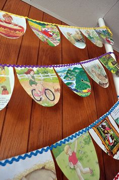 paper bunting made from old story books (I can't imagine cutting pages from a book for this, but it's cute)