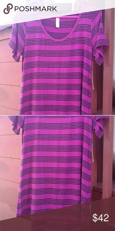 brand new lularoe classic tee beautiful lularoe magenta classic tee with black stripes LuLaRoe Tops Tunics