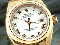 Ladies Rolex Oyster Perpetual Datejust -White Roman Numeral Dial Domed Bezel Jubilee Bracelet. Pre-Owned