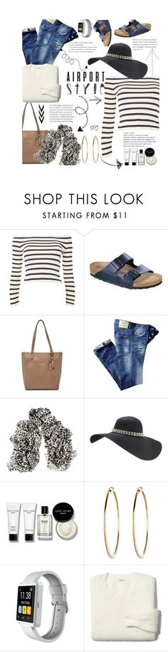 """""""Airport Style"""" by s-p-j ❤ liked on Polyvore featuring Topshop, Birkenstock, Relic, Black, Bobbi Brown Cosmetics, Slide, Madewell and airportstyle"""