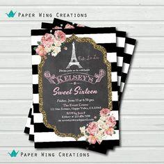 Paris Eiffel Tower Sweet Sixteen invitation. French theme Sweet 16 birthday invitation. Chalkboard black white stripes Printable file AB70 on Etsy, $13.00
