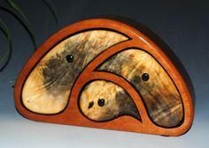 Buckeye Burl on Cherry Handcrafted Wooden TriOval Box