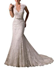 Harshori V-Neckline Cap-Sleeve Lace And Tulle With Satin Wedding Gown 14 White
