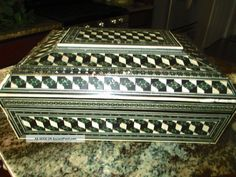 Antique Rare Inlaid Ox Bone/ Ivory /jade Sewing Wood Handmade Box 1800 Boxes