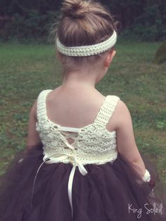 Flower Girl Tutu Dress Crochet Bodice and Bow Chocolate Brown and Ivory Autumn Wedding Infant to Child Size 6. $75.00, via Etsy.