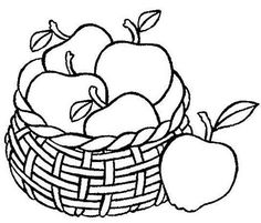 Drawing Apple Basket Coloring Pages Apple Coloring Pages, Food Coloring Pages, Dog Coloring Page, Pattern Coloring Pages, Coloring Pages For Kids, Coloring Books, Fall Coloring, Adult Coloring, Drawing Apple