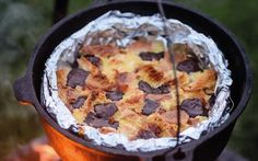 This decadent and delicious pudding recipe is best cooked outside over flames   in a Dutch oven, says Genevieve Taylor. Here, she shows you how