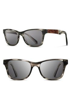 Men's Shwood 'Canby' 53mm Polarized Sunglasses - Pearl Grey/ Elm Burl/ Grey