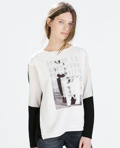 Image 1 of DOUBLE LAYER PRINTED T-SHIRT from Zara